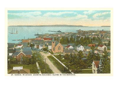 Overview of St. Ignace, Michigan--Art Print