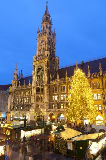 Overview of the Marienplatz Christmas Market and the New Town Hall, Munich, Bavaria, Germany-Miles Ertman-Photographic Print