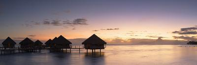 Overwater Bungalows at Le Meridien Tahiti Hotel at Sunset, Pacific-Ian Trower-Photographic Print