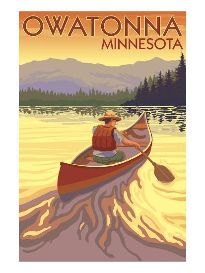 Owatonna, Minnesota - Canoe Scene-Lantern Press-Art Print