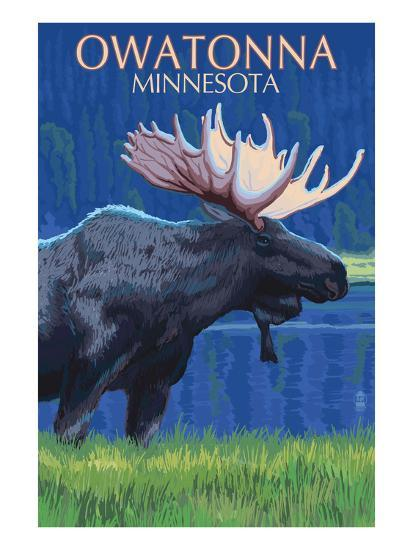 Owatonna, Minnesota - Moose at Night-Lantern Press-Art Print