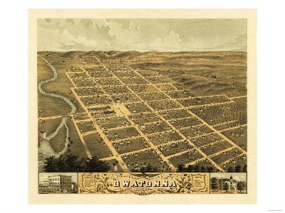Owatonna, Minnesota - Panoramic Map-Lantern Press-Art Print