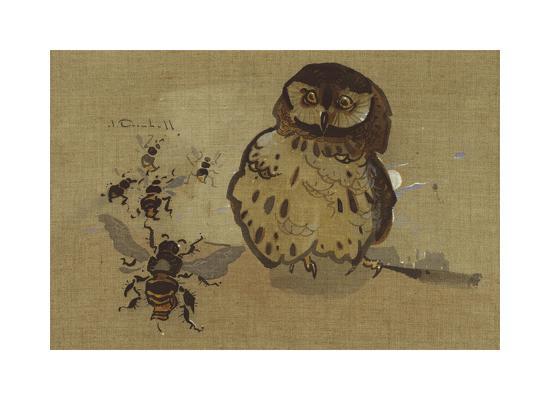 Owl And Bee-Joseph Crawhall-Premium Giclee Print