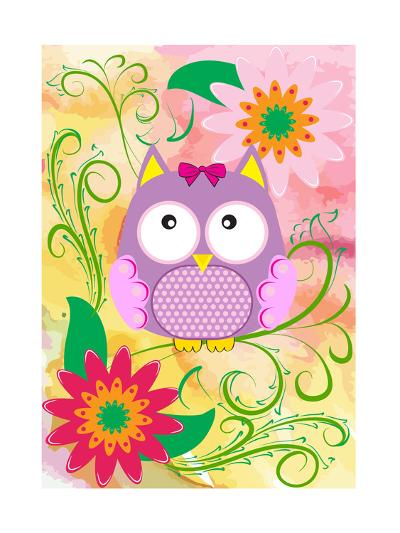 Owl and Flowers-emeget-Art Print
