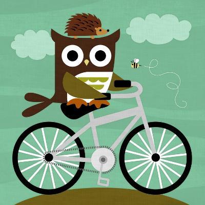 Owl and Hedgehog on Bicycle-Nancy Lee-Art Print