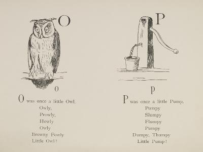 Owl and Pump Illustrations and Verses From Nonsense Alphabets Drawn and Written by Edward Lear.-Edward Lear-Giclee Print