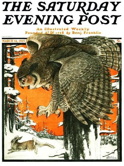 """""""Owl and Rabbit,"""" Saturday Evening Post Cover, March 14, 1925-Paul Bransom-Giclee Print"""