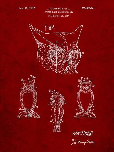Owl Bird of Prey Patent-Cole Borders-Art Print