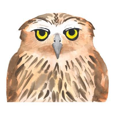 Owl Bird. Watercolor, Vector-Evgeniy Agarkov-Art Print