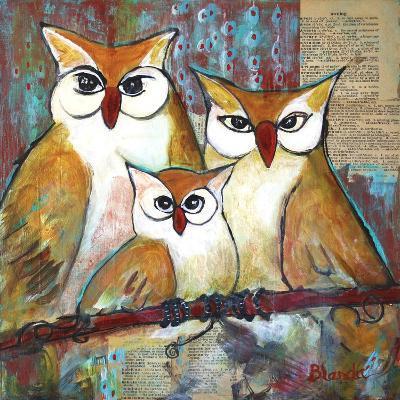 Owl Family Portrait-Blenda Tyvoll-Art Print