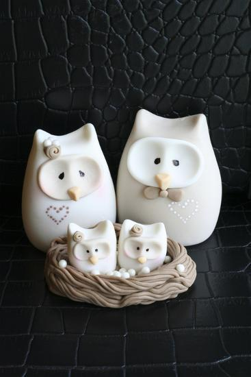 Owl Family Taupe--Photographic Print