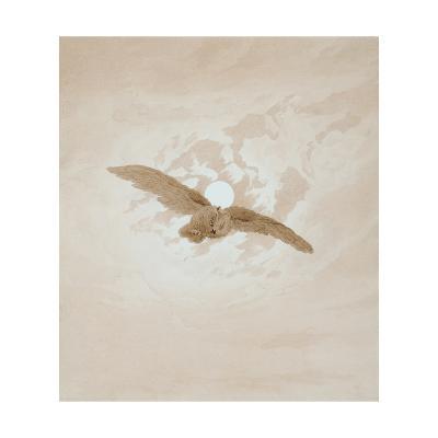 Owl Flying Against a Moonlit Sky, 1836-1837-Caspar David Friedrich-Giclee Print