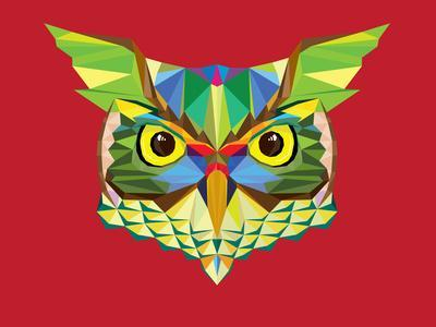 Owl Head in Geometric Pattern-happysunstock-Art Print