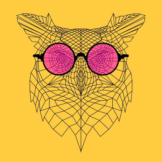 Owl in Pink Glasses-Lisa Kroll-Art Print
