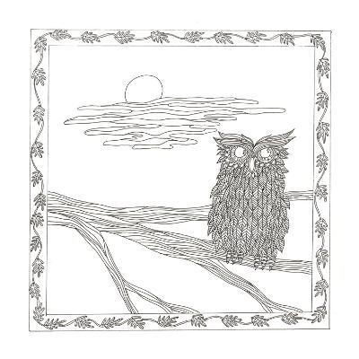 Owl In The Moonlight-Pam Varacek-Art Print
