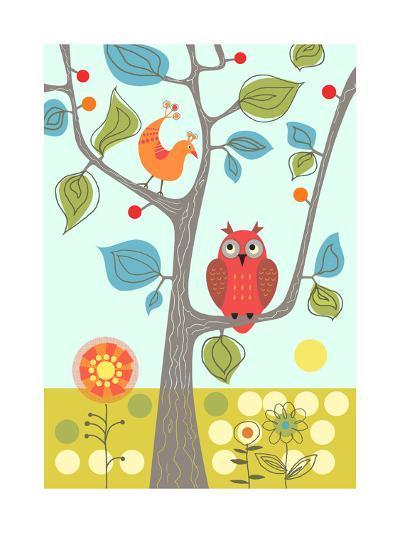 Owl in Tree--Art Print