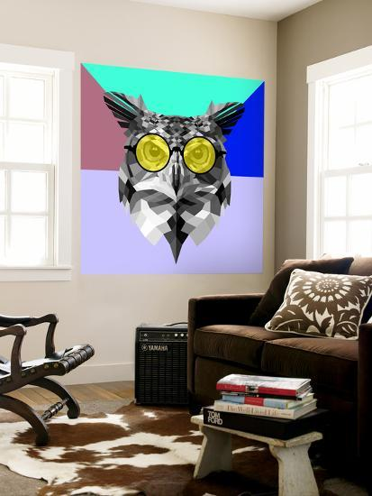 Owl in Yellow Glasses-Lisa Kroll-Wall Mural