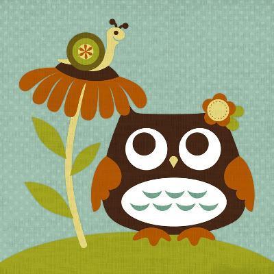 Owl Looking at Snail-Nancy Lee-Art Print