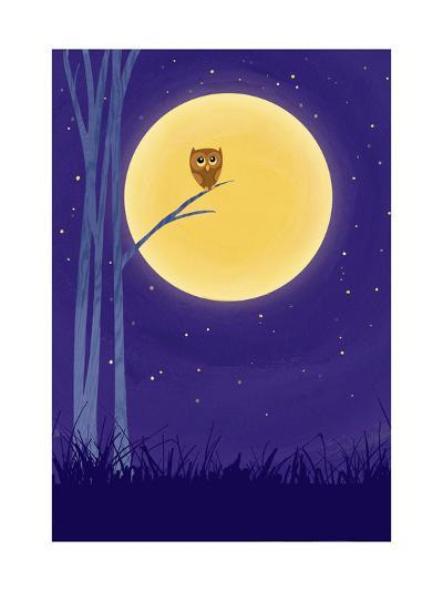 Owl on Branch with Full Moon--Art Print