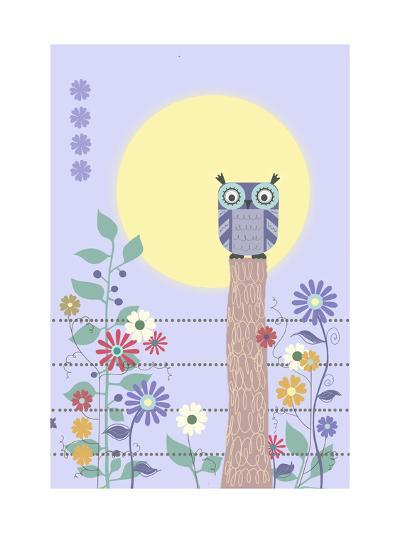Owl on Fence and Moon with Flowers--Art Print