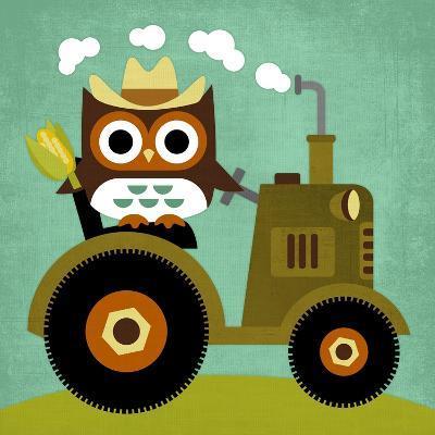 Owl on Tractor-Nancy Lee-Art Print
