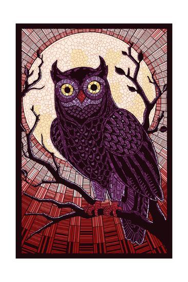 Owl - Paper Mosaic (Red)-Lantern Press-Art Print