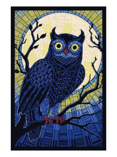 Owl - Paper Mosaic-Lantern Press-Art Print