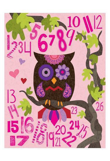 Owl Set Numlet Pinks 2-Melody Hogan-Art Print