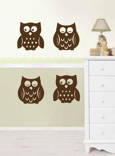 Owl Silhouettes Espresso Brown Wall Decal Sticker--Wall Decal