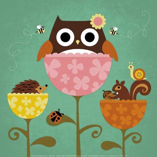 Owl, Squirrel and Hedgehog in Flowers-Nancy Lee-Art Print