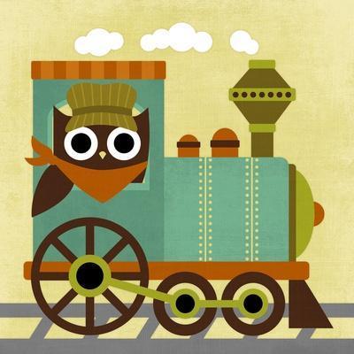 Owl Train Conductor-Nancy Lee-Art Print