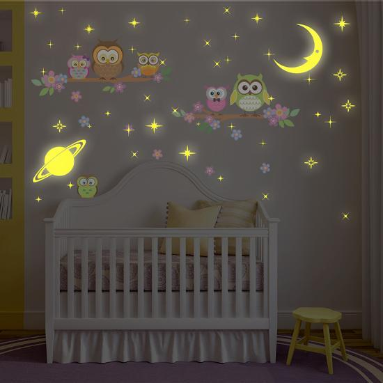 owl tree with glow in the dark moon and stars wall decal| art