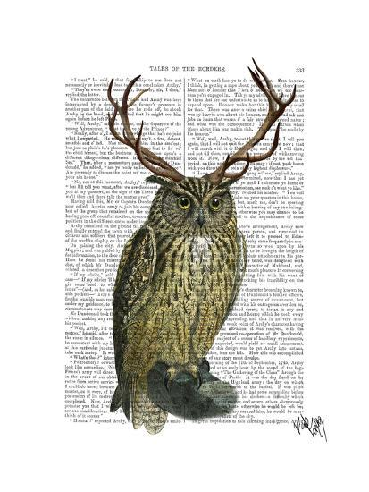 Owl with Antlers plain-Fab Funky-Art Print