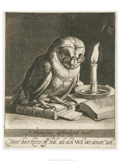 Owl with glasses and books, c. 1625-Cornelis Bloemaert (II)-Art Print