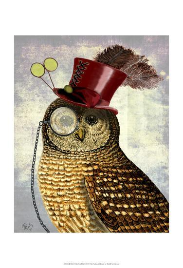 Owl With Top Hat-Fab Funky-Art Print