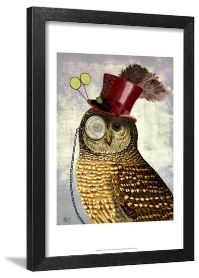 Owl With Top Hat-Fab Funky-Framed Art Print
