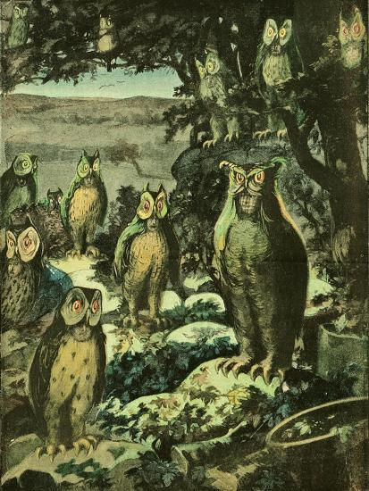 Owls in the Night, Illustration from 'Chantecler'--Giclee Print