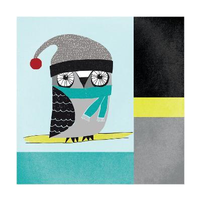 Owls IV Blue Gray and Yellow-Cheryl Warrick-Art Print