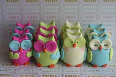Owls Multi Color Brights Large Set--Photographic Print
