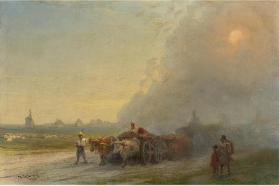 Ox-Carts in the Ukrainian Steppe-Ivan Konstantinovich Aivazovsky-Giclee Print
