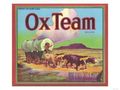 Ox Team Apple Label - Wenatchee, WA-Lantern Press-Art Print