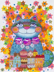Blue Christmas Cat by Oxana Zaika