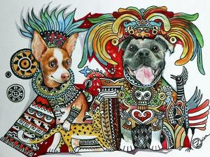 Chihuahua and Pitbull in Mexico by Oxana Zaika