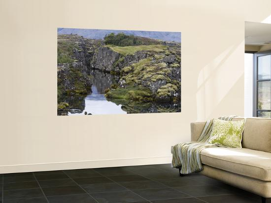 Oxara River and Volcanic Landscape, Pingvellir National Park-Holger Leue-Wall Mural