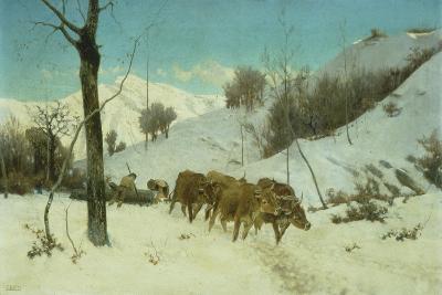 Oxen Dragging Log-Stefano Bruzzi-Giclee Print