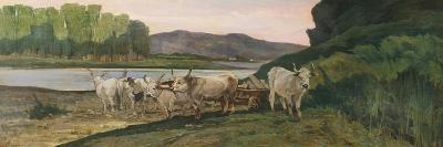 Oxen Near the Arno River-Giovanni Fattori-Giclee Print