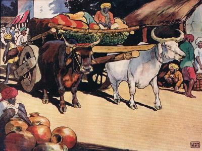 Oxen Pulling a Cart, Illustration from 'Helpers Without Hands'-John Edwin Noble-Giclee Print