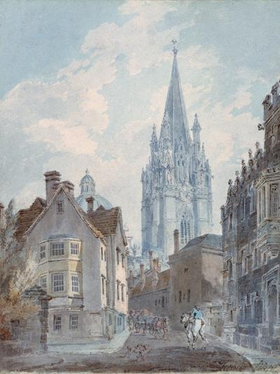 Oxford: St Mary's from Oriel Lane, 1792-1793-J^ M^ W^ Turner-Giclee Print