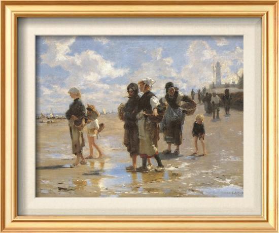Oyster Gatherers of Cancale-John Singer Sargent-Framed Textured Art