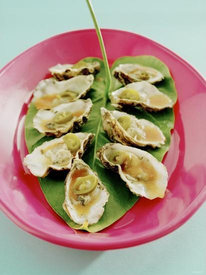 Oysters with Tomato Oil and Jalapeno (Chili Rings)-Alexander Van Berge-Photographic Print